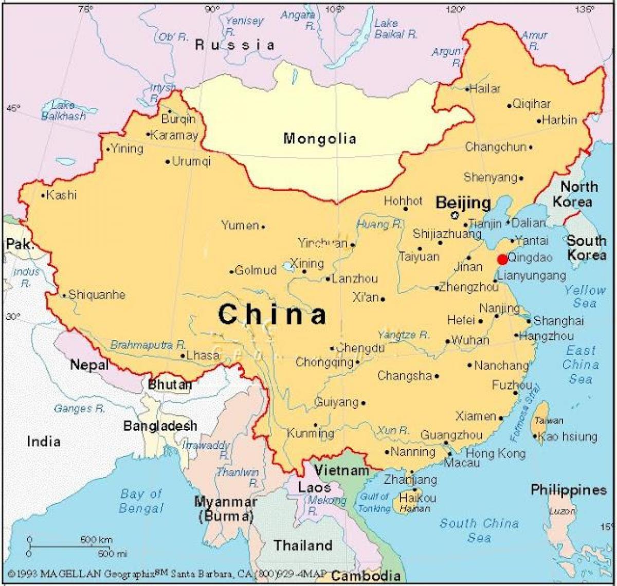 Capitala Chinei hartă - Harta de capital din China (China)